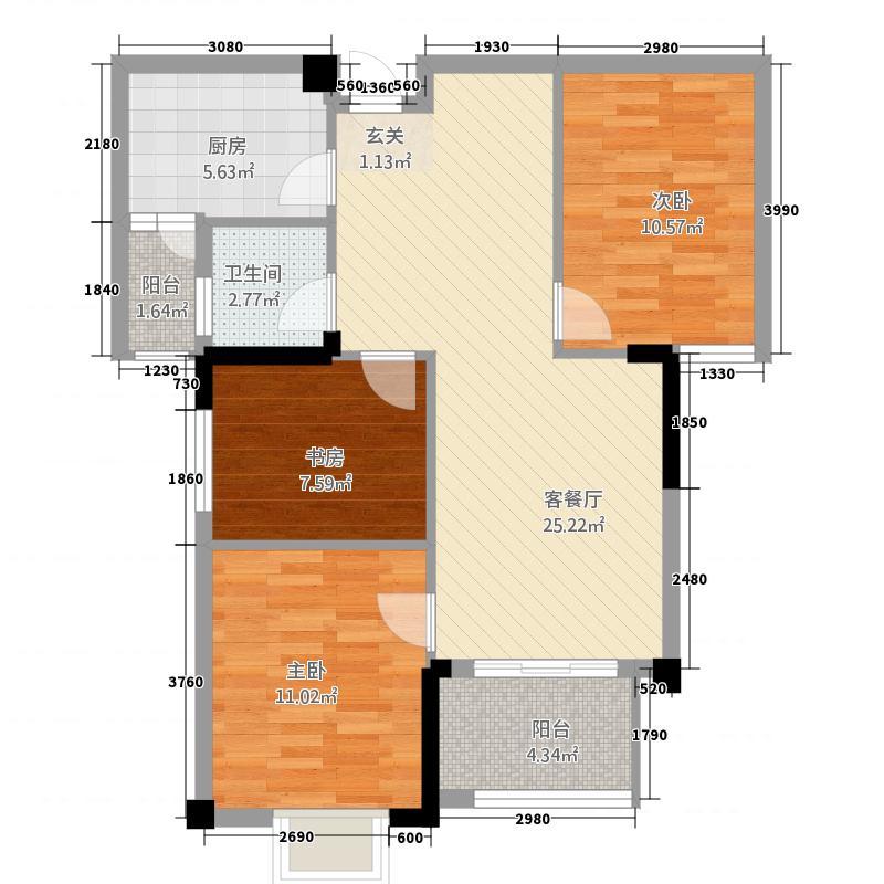 阳光佳苑阳光家园户型3室2厅1卫1厨