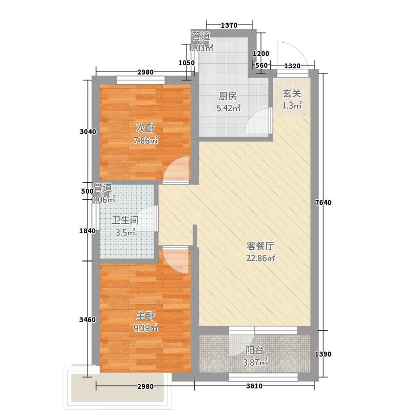 佳和华庭76.20㎡两居室户型2室1厅1卫1厨