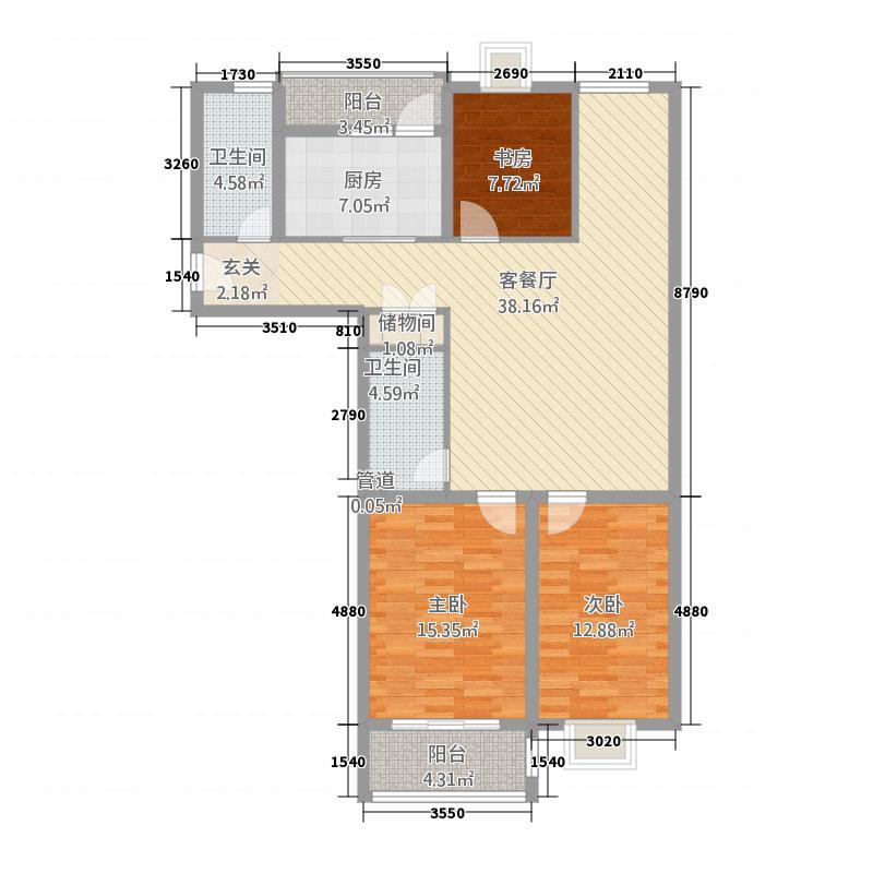 凯旋国际广场142.73㎡E户型4室2厅2卫1厨