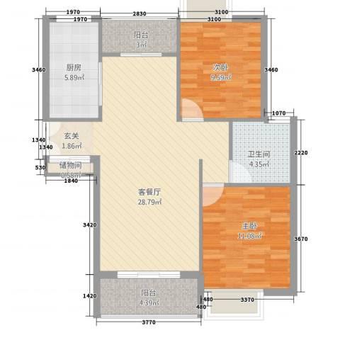 雍福上城2室1厅1卫1厨76.00㎡户型图