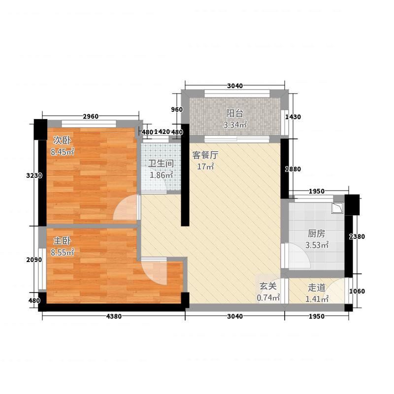中骏愉景湾65.20㎡A9#、10#、15#楼1阳台户型2室2厅1卫1厨