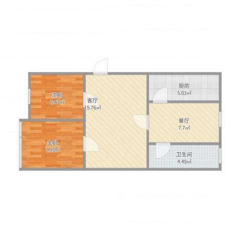 国色天香2室2厅1卫1厨65.00㎡户型图