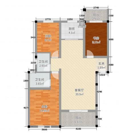 中岭康城3室1厅2卫1厨83.69㎡户型图