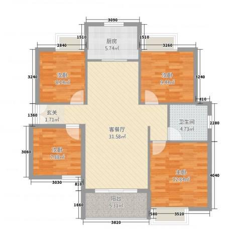 雍福上城4室1厅1卫1厨96.00㎡户型图