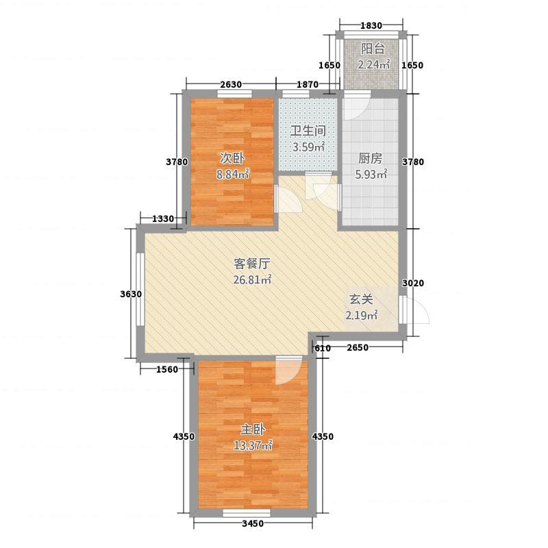 锦绣馨园78.52㎡洋房D户型2室1厅1卫1厨
