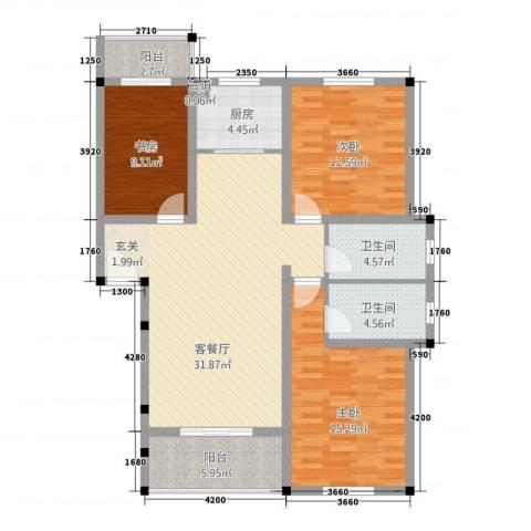 中岭康城3室1厅2卫1厨2111.00㎡户型图