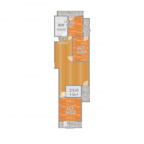 海虹汉都3室1厅1卫1厨118.00㎡户型图