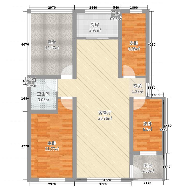 华晋佳苑1318.20㎡M户型3室2厅1卫1厨