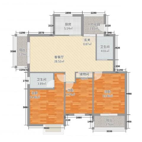 雍福上城3室1厅2卫1厨103.00㎡户型图