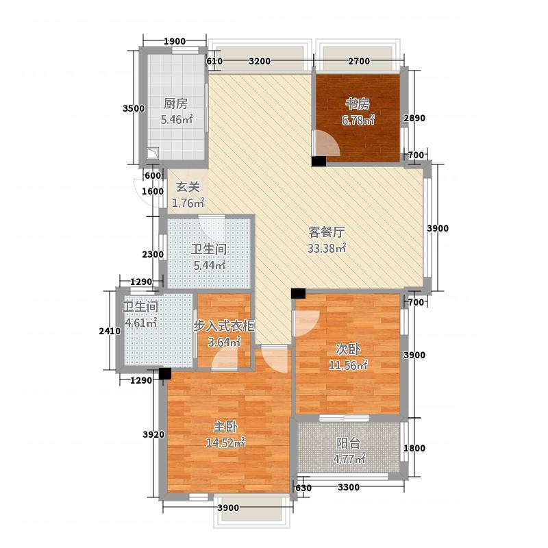 人和家园3.20㎡户型3室2厅2卫1厨