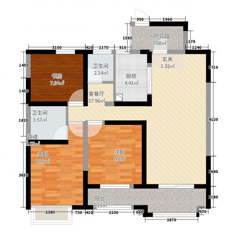 新泰大溪地现代城113.62㎡1#3-6#14-17#02-03户型3室2厅2卫1厨