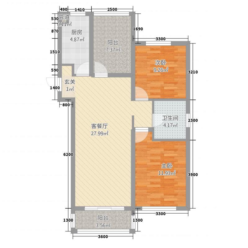 幸福世家11.20㎡1(1)_副本户型2室2厅1卫1厨