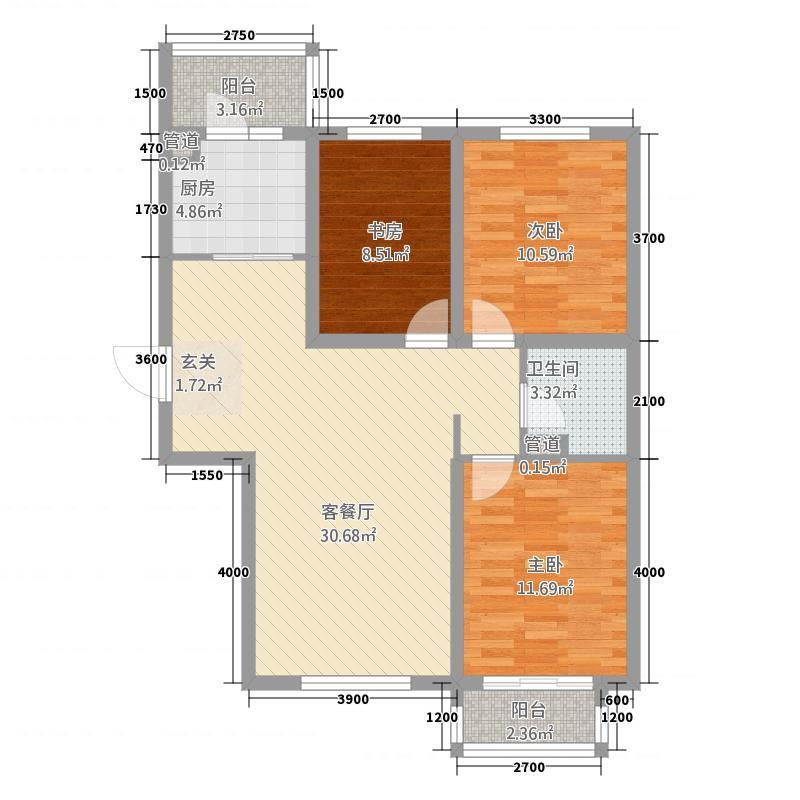 世纪学庭131.78㎡J1户型3室2厅1卫1厨