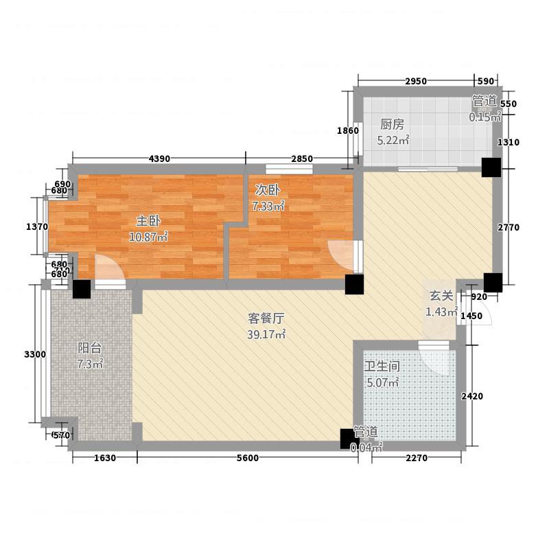 悦和家园27.12㎡户型2室2厅1卫1厨