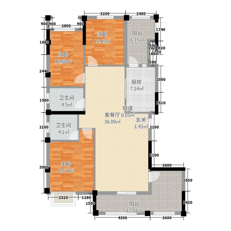 金融街中央领御36137.52㎡3-6号栋B1户型3室2厅2卫1厨