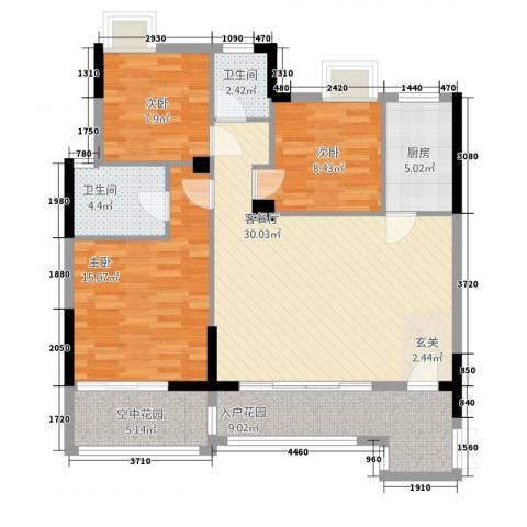 和合国际城二期3室1厅2卫1厨21124.00㎡户型图