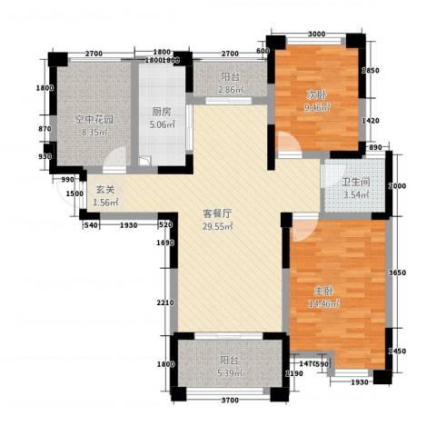永华滨江名城2室1厅1卫1厨78.67㎡户型图