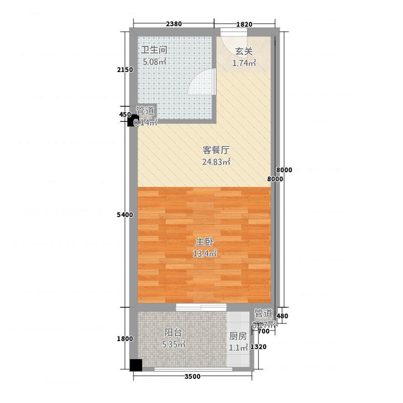金融街中央领御花样年华公寓户型1室1厅1卫