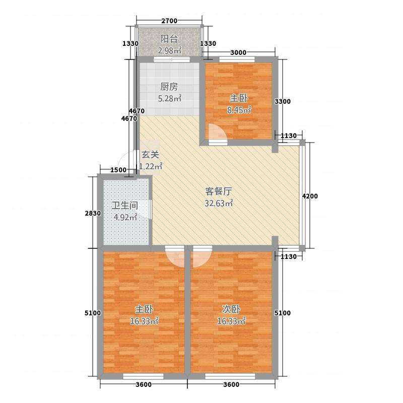 玉环丰裕大厦7.20㎡户型3室2厅1卫1厨