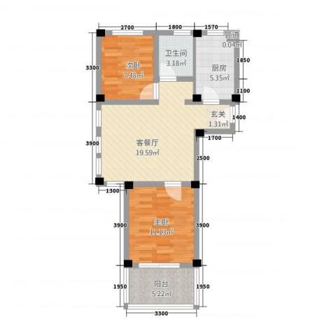 阳光托斯卡纳2室1厅1卫1厨62.00㎡户型图