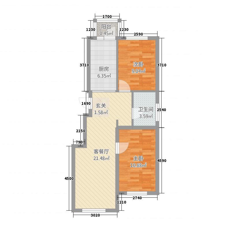 哈西华府253182.28㎡25-31号楼户型2室1厅1卫1厨