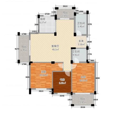 新源金碧秋浦3室1厅2卫1厨113.32㎡户型图