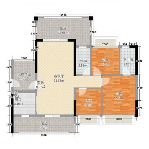 新怡・美丽家园3室1厅2卫1厨131.00㎡户型图