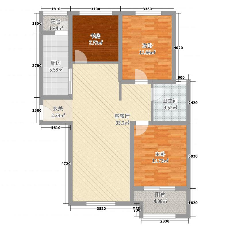 水韵华府3115.20㎡高层户型3室2厅1卫1厨