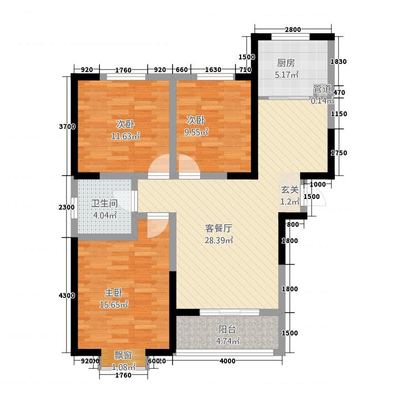东方红五号街坊31118.32㎡3-1东户户型3室2厅1卫1厨