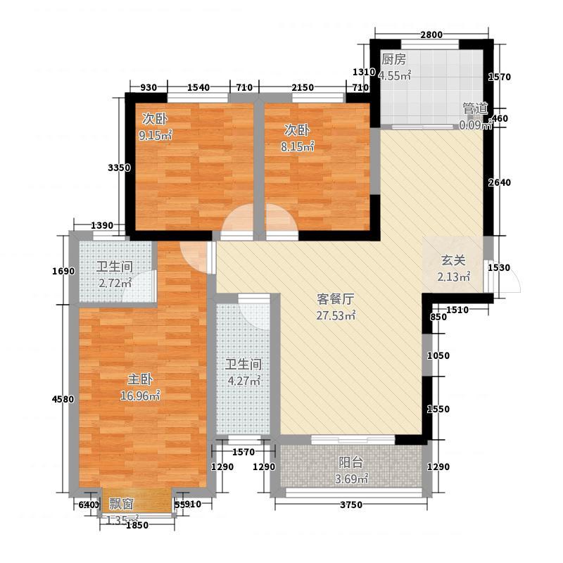 东方红五号街坊2113.81㎡2-1西户户型3室2厅2卫1厨