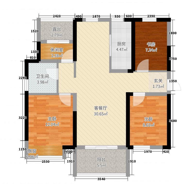 万达华城112.63㎡B户型4室2厅1卫1厨