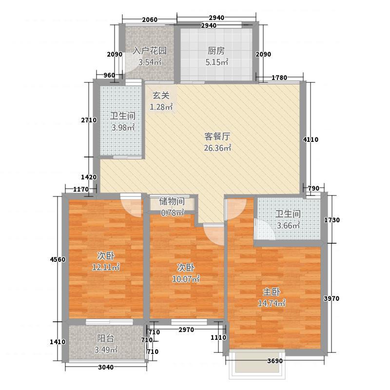 雍福上城23211.20㎡B-户型3室2厅2卫1厨