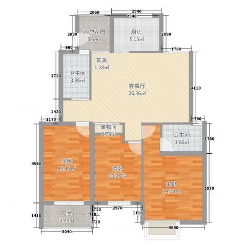 雍福上城3室1厅2卫1厨95.00㎡户型图