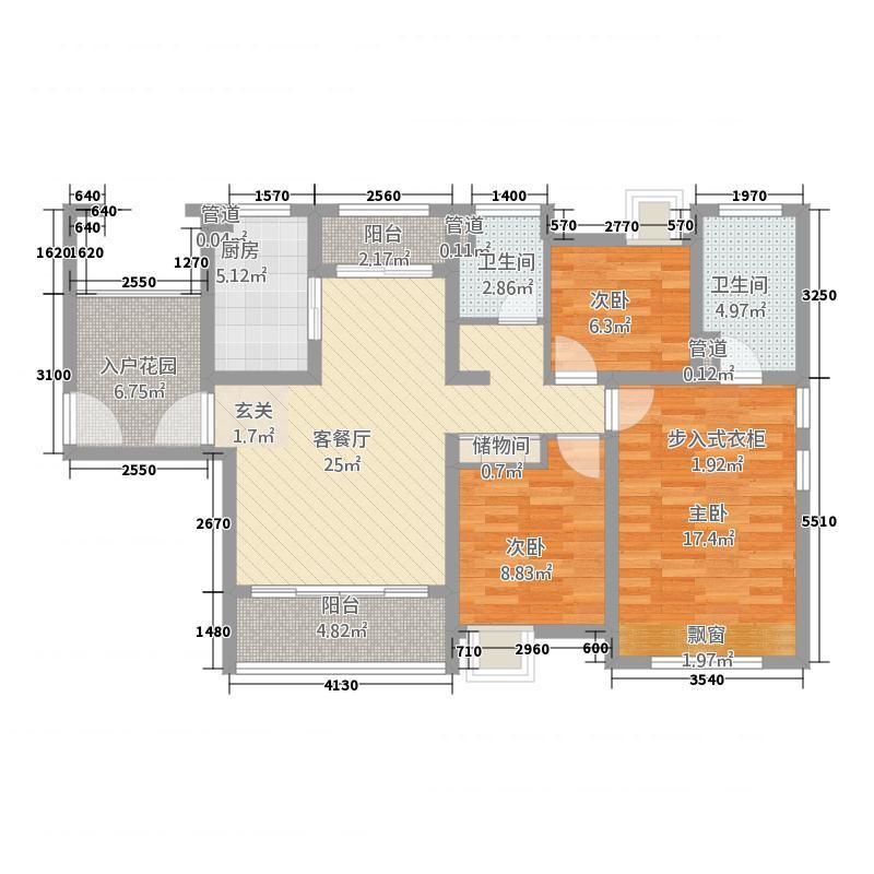 绿地城125.00㎡户型3室2厅2卫
