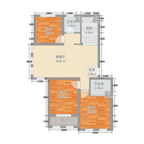 阳光托斯卡纳3室1厅2卫1厨65.74㎡户型图