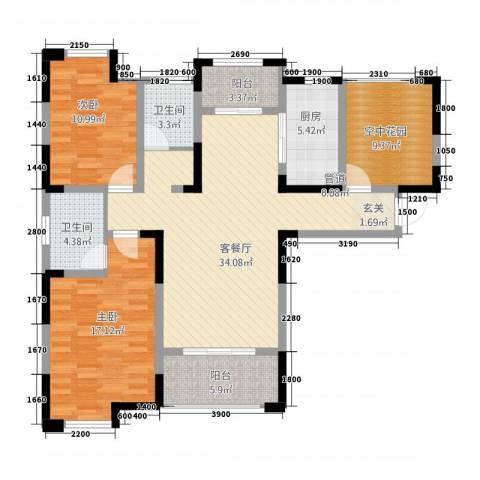 永华滨江名城2室1厅2卫1厨116116.00㎡户型图