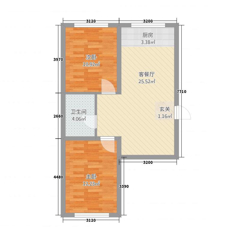 哈西华府32137.62㎡32号楼1、3单元2室户型2室2厅1卫1厨