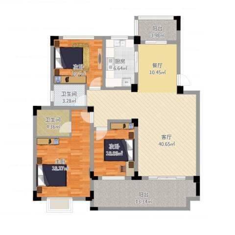 北环阳光花园3室1厅2卫1厨159.00㎡户型图