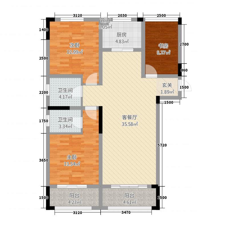 龙门山水华庭1134.55㎡A1户型3室2厅2卫1厨