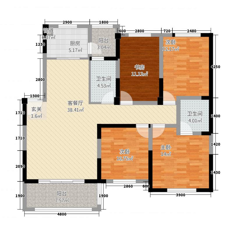 世纪公馆414.27㎡户型4室2厅2卫1厨