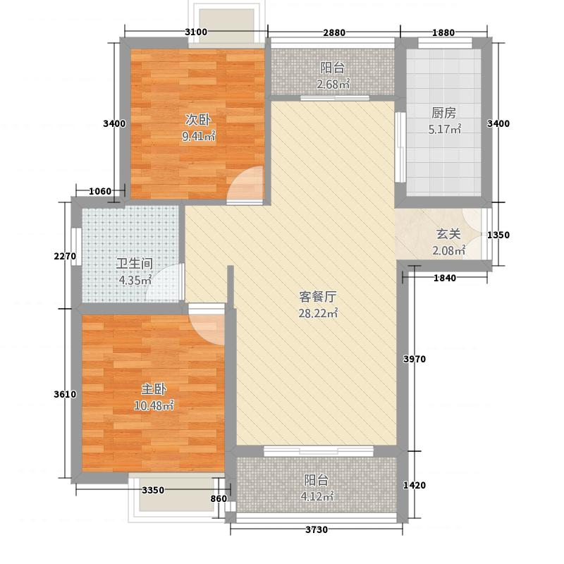 雍福上城1223.20㎡C-户型2室2厅1卫1厨