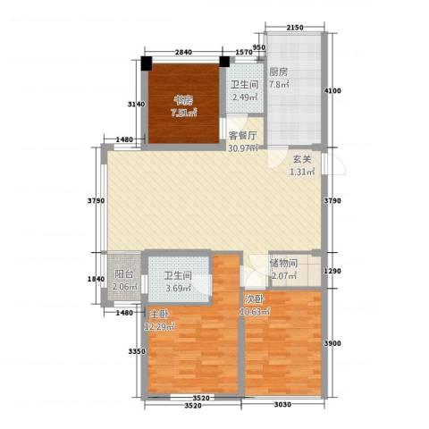 浙建・太和丽都三期3室1厅2卫1厨89.94㎡户型图