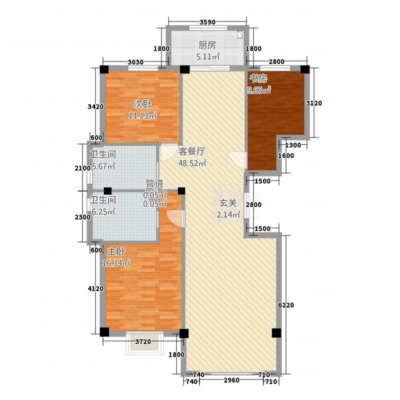 中豪・润园1313.52㎡E户型3室2厅2卫1厨