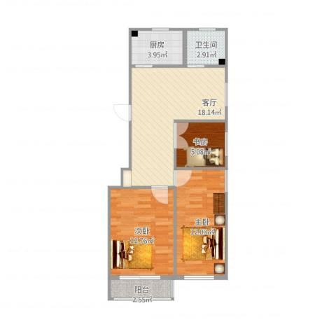祁连三村3室1厅1卫1厨79.00㎡户型图