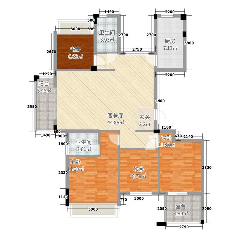 风铃绿洲三期3.20㎡G3户型4室2厅2卫1厨