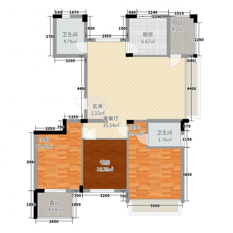 风铃绿洲三期2.20㎡G2户型3室2厅2卫1厨