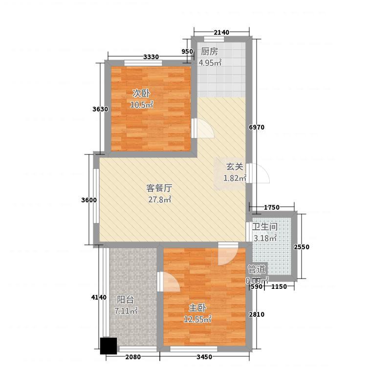 华大城1178.38㎡二期B1#楼E1户型2室2厅1卫1厨