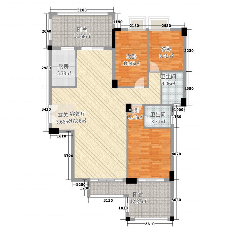 美嘉华庭615.57㎡一期6号楼标准层08户型3室2厅2卫1厨