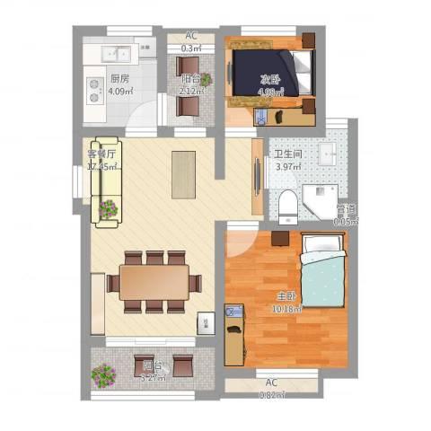 金田花园2室1厅1卫1厨71.00㎡户型图