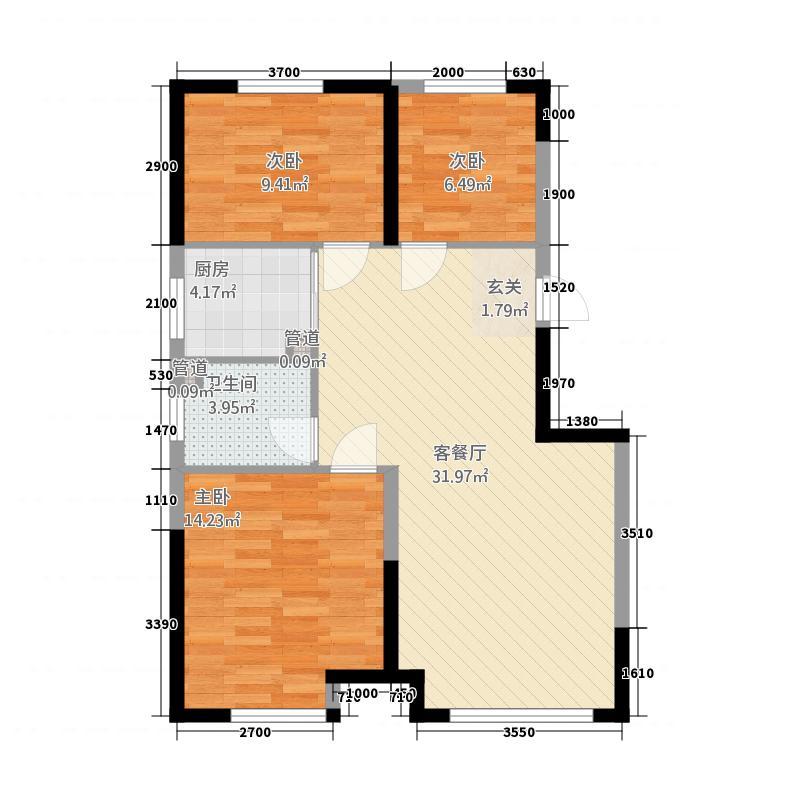 中海城1327.20㎡A1边户户型3室2厅1卫1厨